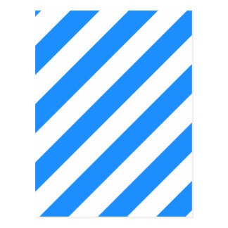 Diag Stripes - White and Dodger Blue Postcard