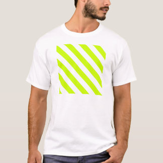 Diag Stripes - White and Fluorescent Yellow T-Shirt