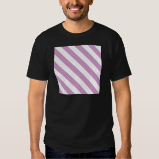 Diag Stripes - White and Light Medium Orchid T-Shirt