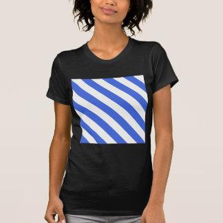 Diag Stripes - White and Royal Blue T-Shirt