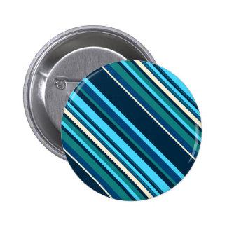 Diagnal Blue Cyan Aqua Stripes Pinback Button