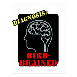 Postcard with Diagnosis: Bird-Brained design