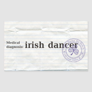 Diagnóstico médico: bailarín irlandés pegatina rectangular