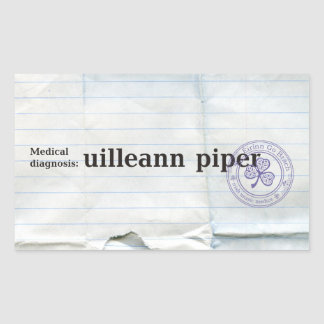 Diagnóstico médico: Gaitero de Uilleann Pegatina Rectangular
