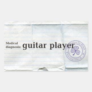 Diagnóstico médico: guitarrista pegatina rectangular