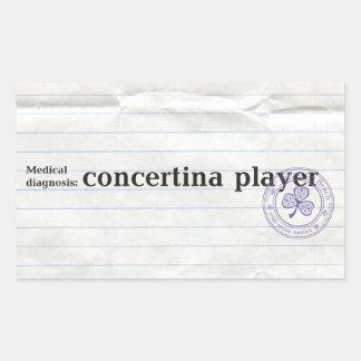 Diagnóstico médico: jugador acordeón pegatina rectangular