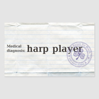 Diagnóstico médico: jugador de la arpa pegatina rectangular