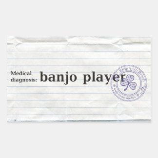 Diagnóstico médico: jugador del banjo pegatina rectangular