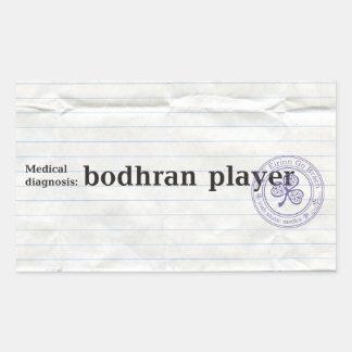 Diagnóstico médico: jugador del bodhran pegatina rectangular