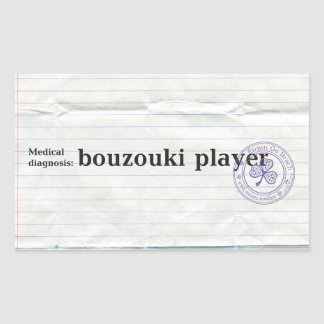 Diagnóstico médico: jugador del bouzouki pegatina rectangular