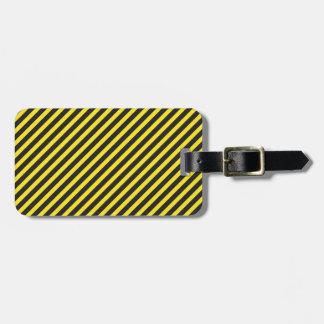 Diagonal amarilla y negra de la construcción rayad etiquetas de maletas