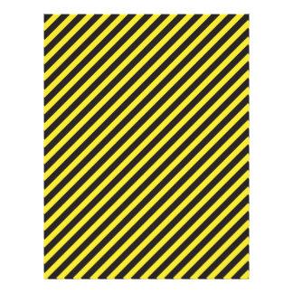Diagonal amarilla y negra de la construcción rayad membretes personalizados