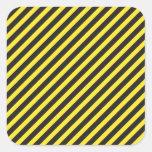 Diagonal amarilla y negra de la construcción rayad calcomanía cuadradas personalizada