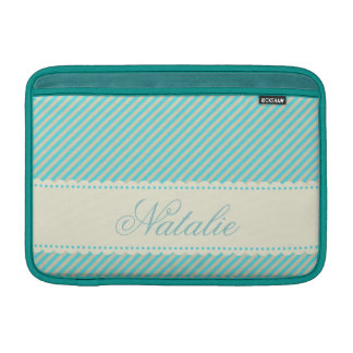 Diagonal Aqua Blue Cream Stripes Custom Name MacBook Sleeves