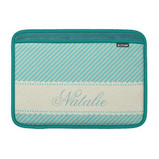 Diagonal Aqua Blue Cream Stripes Custom Name MacBook Sleeve