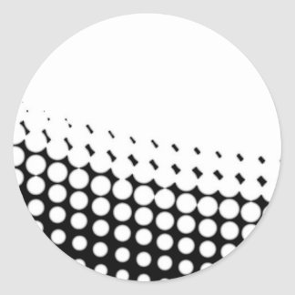 Diagonal B and W Half Tone Classic Round Sticker