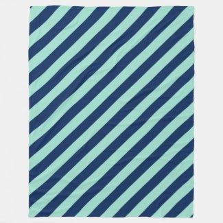 Diagonal Beach Stripes, Seafoam Green and Navy