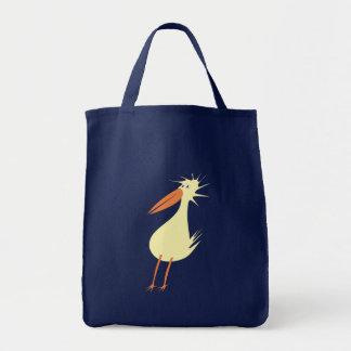 diagonal bird odd duck tote bag