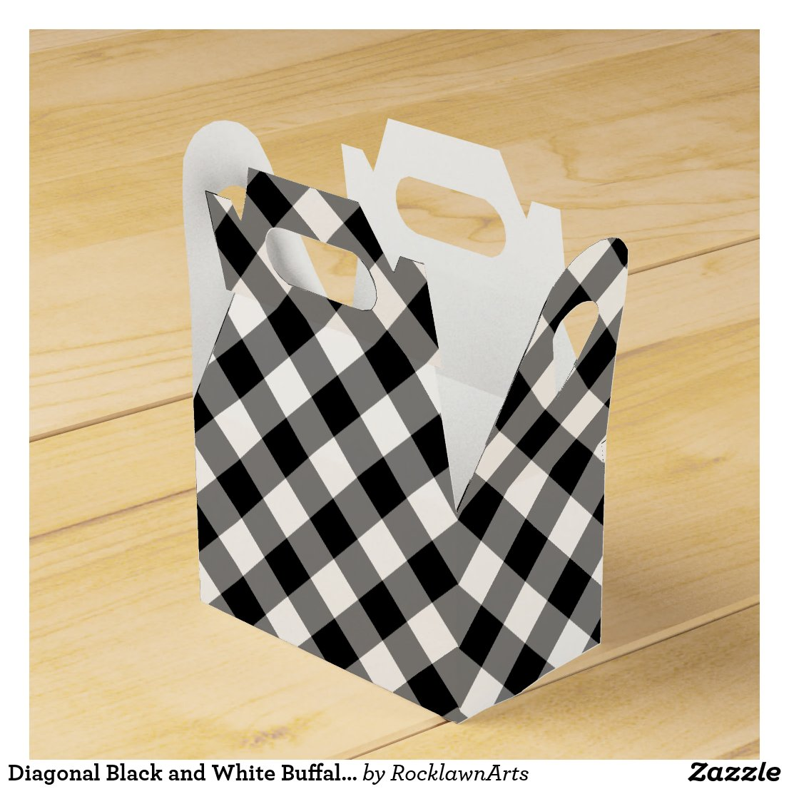 Diagonal Black and White Buffalo Plaid Favor Box