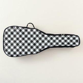 Diagonal Black and White Buffalo Plaid Guitar Case