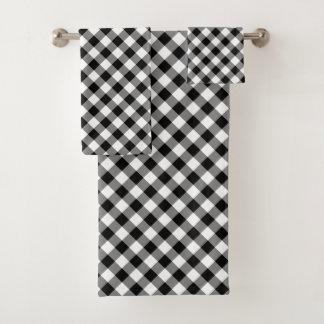 Diagonal Black and White Checked Plaid Towel Set