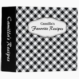 Diagonal black and white gingham kitchen binder
