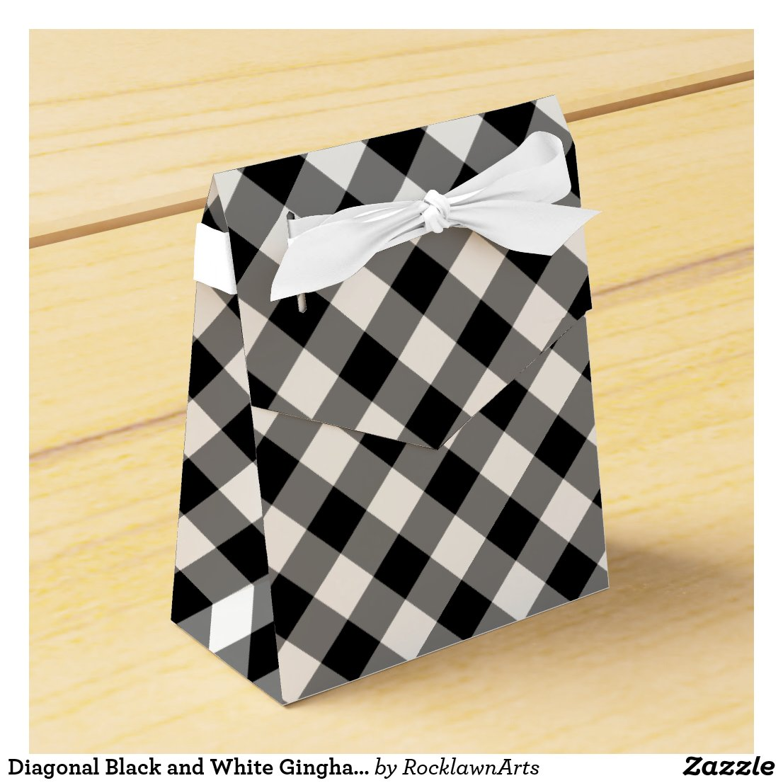Diagonal Black and White Gingham Plaid favor box