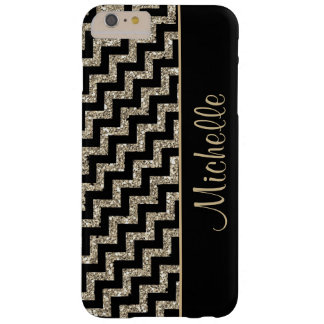 Diagonal Black Chevron Gold Personalized Barely There iPhone 6 Plus Case