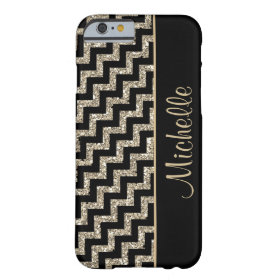 Diagonal Black Chevron Gold Personalized Barely There iPhone 6 Case