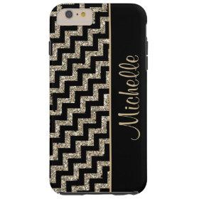Diagonal Black Chevron Gold Personalized Tough iPhone 6 Plus Case