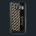 "Diagonal Black Chevron Gold Personalized OtterBox Samsung Galaxy S7 Case<br><div class=""desc"">Here is an especially pretty case for her, with black chevrons contrasted with silver gold faux glitter chevrons in a diagonal pattern. A black side border holds her name in matching gold. A unique, elegant, and attractive case! *Please note - the image is printed on the case, which contains no...</div>"