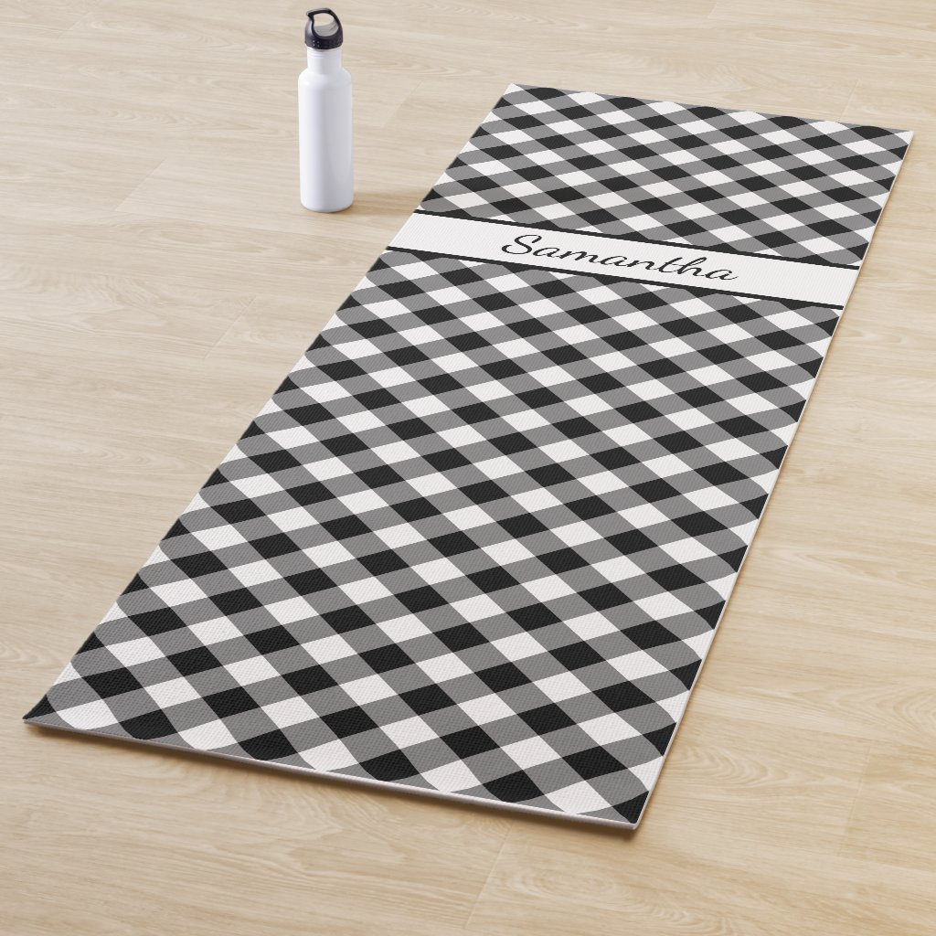 Diagonal Black White Buffalo Check with Your Name Yoga Mat