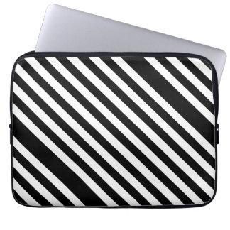 Diagonal Black & White Pattern Laptop Sleeves