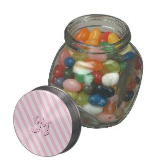Diagonal Blossom Pink Stripes customize monogram Glass Candy Jar