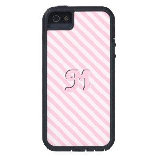 Diagonal Blossom Pink Stripes customize monogram iPhone SE/5/5s Case