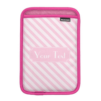 Diagonal Blossom Pink Stripes customize monogram Sleeve For iPad Mini