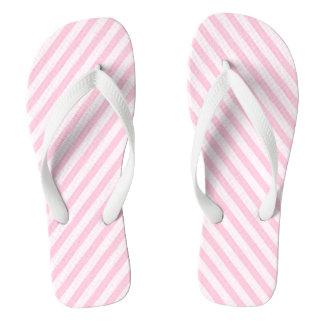 Diagonal Blossom Pink Stripes Flip Flops