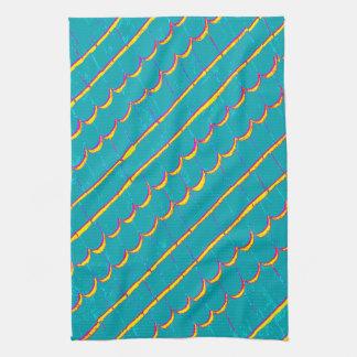 diagonal blue-green shingle rows kitchen towel
