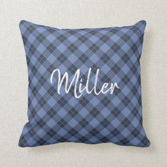 Diagonal Blue Plaid Pattern White Script Name Throw Pillow