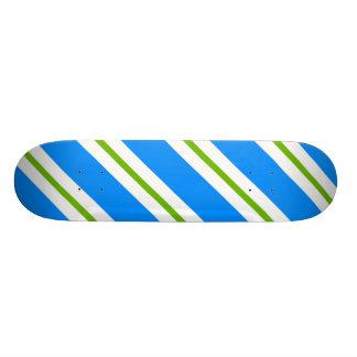 Diagonal Blue White And Green Skateboard
