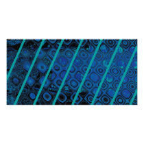 Diagonal Blues Abstract Pattern Card
