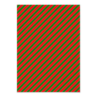Diagonal Candy Cane Stripes-Christmas Red & Green 4.5x6.25 Paper Invitation Card