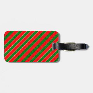Diagonal Candy Cane Stripes-Christmas Red & Green Travel Bag Tag
