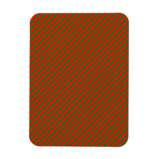 Diagonal Candy Cane Stripes-Christmas Red & Green Magnet
