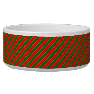 Diagonal Candy Cane Stripes-Christmas Red & Green Dog Bowls