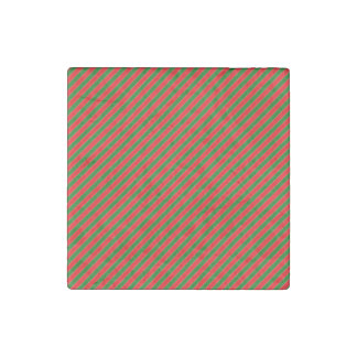 Diagonal Candy Cane Stripes-Christmas Red & Green Stone Magnet
