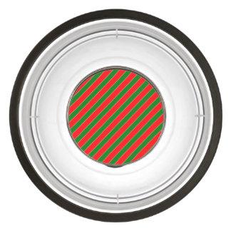 Diagonal Candy Cane Stripes-Christmas Red & Green Pet Bowl