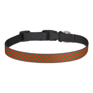 Diagonal Candy Cane Stripes-Christmas Red & Green Dog Collars