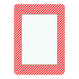 Diagonal Candy Cane Stripes-Christmas Red & White 4.5x6.25 Paper Invitation Card