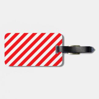 Diagonal Candy Cane Stripes-Christmas Red & White Bag Tags